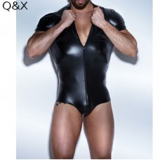 Men Bodysuit Faux leather Latex Bodysuit