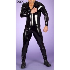Men Latex Catsuit Faux Leather Front Zipper Crotch