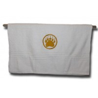 Bath Towel - Gold Monogram White