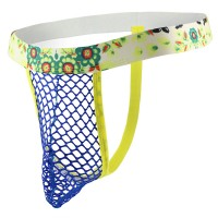 Flower Mesh G-String Blue and Yellow