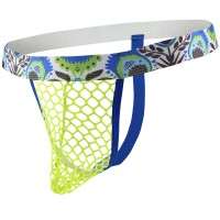Flower Mesh G-String Yellow and Blue