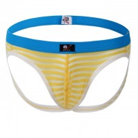 Jockstrap sexy yellow-stripe see through