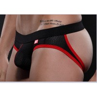 Breathable Jockstrap Black and Red