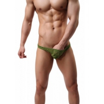 Elastic Green Mesh Briefs T-Back
