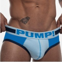 Pump Cotton Briefs Light Blue and White