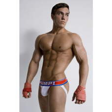 Pump Jockstrap White, Red and Blue