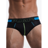 Pump Hollow Mesh Briefs Blue with Green