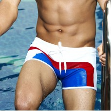 Swimwear - White with blue and red Trunks