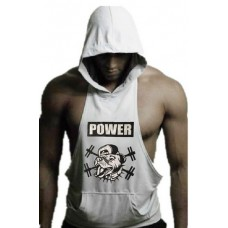 White Muscle Dog Hoodie
