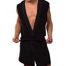 Mens Sexy Sleeveless Hooded Robe - Black